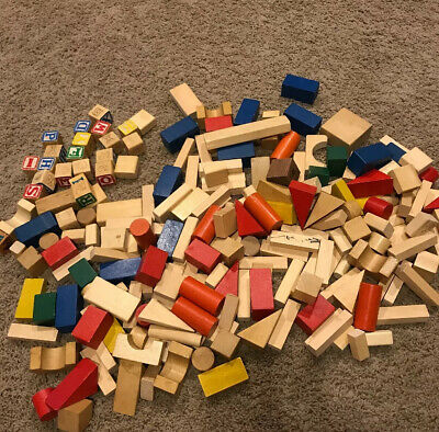 Vintage Giant Lot of Colored Plain Wooden Building Blocks Over 200 Pieces