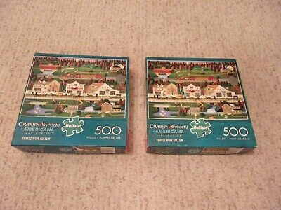 2 Charles Wysocki Americana Puzzles 500 Pieces Assorted Complete
