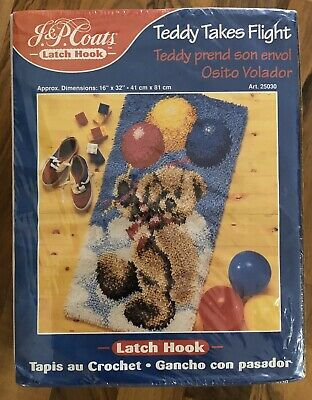 Teddy Takes Flight Latch Hook Kit. 41cm X 81cm
