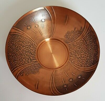 Vintage RODD Copper Bowl With Stars Flowers Waves Copperware Collectible