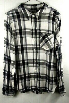 SO Womens Relaxed Fit Large Button Up Flannel Longsleeve Shirt Black white Plaid