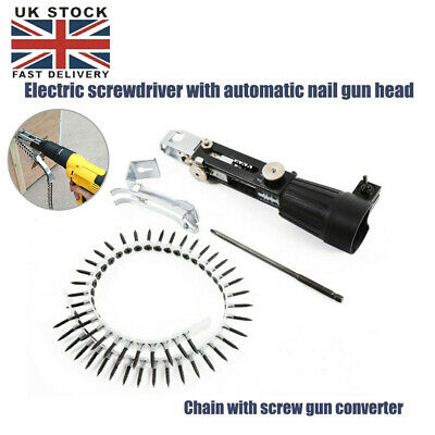 automatic Chain Nail Gun Adapter Screw Gun for Electric Drill Woodworking T D3K6