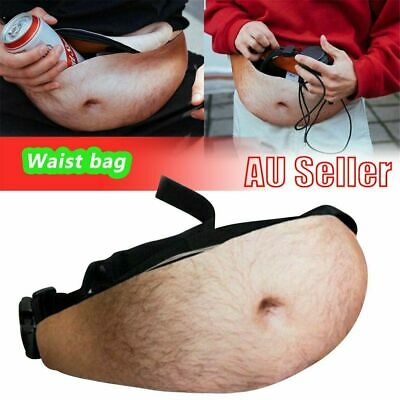 Dad Dad Bod Waist Belt Bum Bag Leather Hairy Beer Fat Belly Fanny Pack Pouch GR
