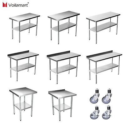 Stainless Steel Commercial  Work Bench Table Kitchen Worktop Voilamart