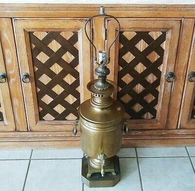 """Antique Russian Imperial (1855-1892) Brass Samovar Table Lamp Height 36"""""""