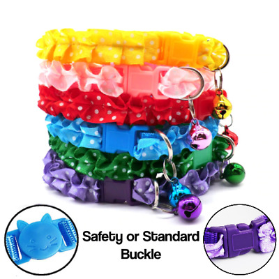 x6 Frilly Cat Adjustable Collar Safety or Snap Buckle Polka Dot Bell Small Pet