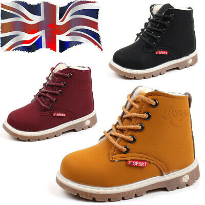 Kids Martin Boots Boys Girls Ankle Shoes Winter Warm Snow Boots Fur Lined Casual