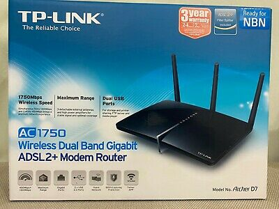 TP-Link AC1750 Archer D7 Dual Band Gigabit ADSL2+ Modem Router NBN Ready