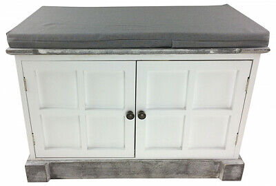White Grey Solid Wood Hallway Storage Bench & Cushion Wooden Shabby Chic