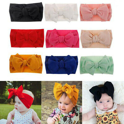 Girls Baby Cotton Bow Hairband Headband Sweet Turban Knot Hair Band Head Wrap UK