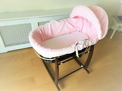 Moses basket Cuddlesoft dimple DRESSING SET - Used - Pink in beautiful condition