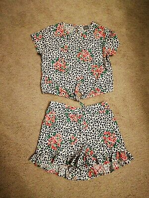 Next Girls 2 Piece Top And Shorts Leopard Print Set Age 4 Years
