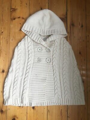 Girls white knitted poncho by Next, age 8-10