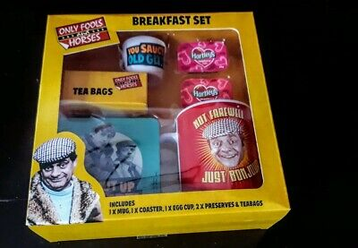 Only fools and horses breakfast  gift Set Mug tea bags , egg cup , jams, coaster