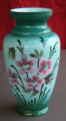 "10 1/2"" Bristol Glass Vase  Late 19th Cent Green/Teal with Hand-Painted Flowers"
