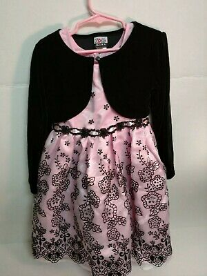 Pink and Black Girls Dress with jacket size 6