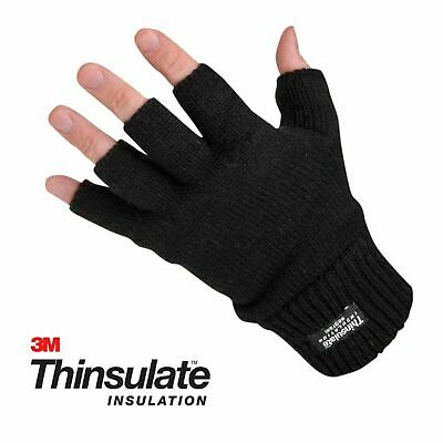 Mens Thinsulate 3M 40 gram Black Insulated Knit Thermal Winter Fingerless Gloves