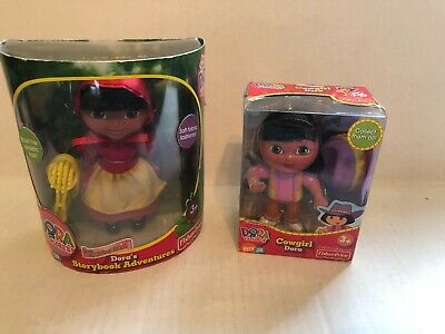 Fisher Price Dora the Explorer 2004 Cowgirl & 2005 Red Riding Hood Storybook Adv