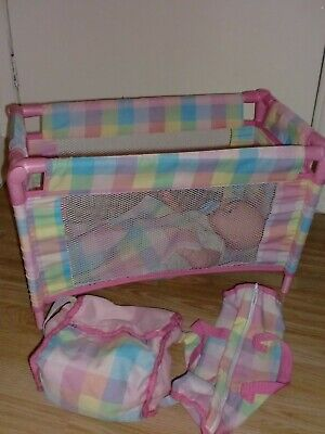 Dolls Toy Travel Cot/Bed/Crib with Storage Bag plus Accessory Bag & Doll