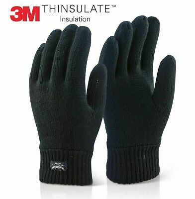 Mens Thermal 3M Thinsulate Knitted Full Finger Warm Winter Gloves Optional Size