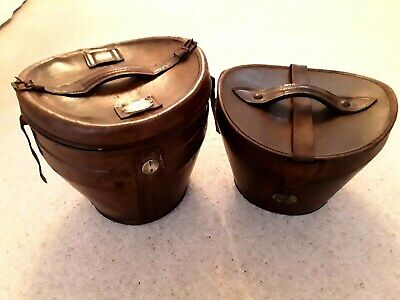 "Large Vintage Brown Leather Double Top Hat Box Velvet Interior 14"" High"