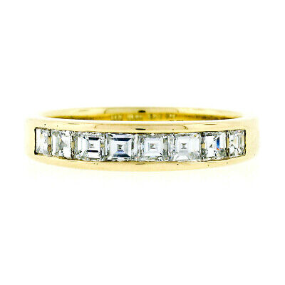 Tiffany & Co. 18k Gold 1.00ctw Square Step Cut Diamond Wedding Band Ring 3.9mm