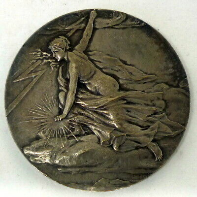 Antique french Art Nouveau Deco signed Silver Plated Bronze medal Electricity
