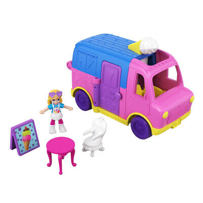 Polly Pocket Pollyville Ice Cream Truck Play Areas with Doll & Accessories