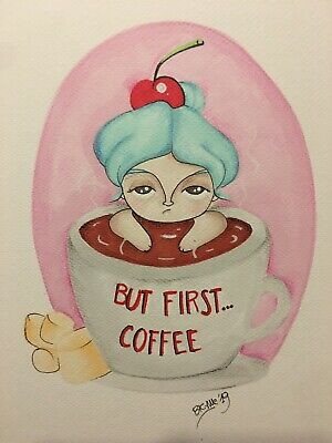 Illustrazione Illustration Disegno Sketch Original COFFEE TIME pic draw color