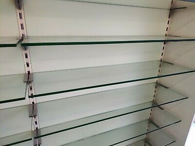 55 x Toughened Glass Shelves With Brackets For Retail Shop Display