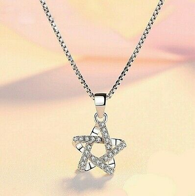 REAL SOLID SILVER 925 Classic Sterling Silver Necklace & Pendant  Star-027