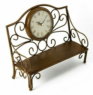 Rustic Antique Brass Style Metal Garden Bench Mantel Clock Roman Face Gift