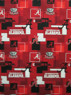 ALABAMA CRIMSON TIDE UNIVERSITY STRIPE RED BLACK GRAY COTTON FABRIC BTHY