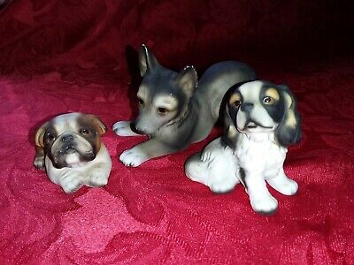 3 HHH Harvey Knox Puppy Dog Figures Limited Edition H545C82 + Bulldog + Spaniel