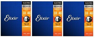 Elixir 12052 Nanoweb Coated Electric Guitar Strings Light 10-46 (3-Pack)