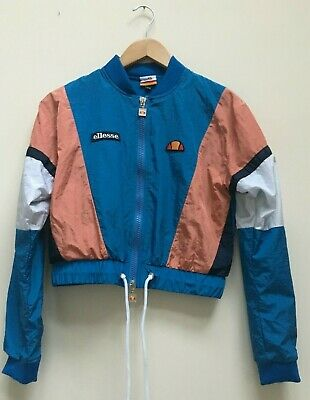 Womens Vintage Retro 80s Ellesse Blue Cropped Shell Tracksuit Top Size UK 6