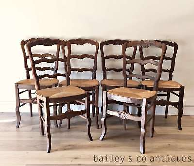 French Ladderback Chairs Oak Rare Provincial Louis XV Style (SIX) - OF006