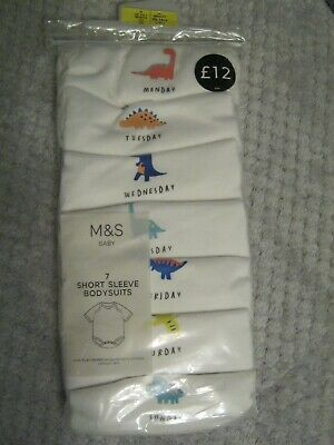 M&S 7 Days Of The Week Baby Boys Bodysuits Age 0-1 Month 100% Cotton Bnwt