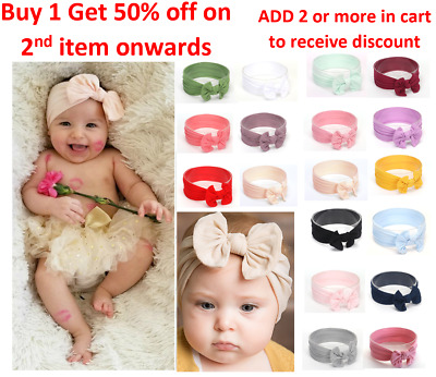Baby Nylon Soft Bow Headband Turban Top Knot Headband Newborn Girl Accessories