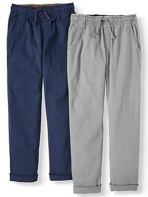 Wonder Nation Boys Pull On Pants, 2-Pack, Blue Cove/Grey Flannel, Large