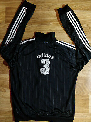 Adidas Vintage Mens Tracksuit Top Jacket Black White Stripes 3 Striped Hype Logo
