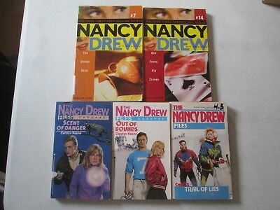 NANCY DREW FILES and GIRL DETECTIVE CAROLYN KEENE LOT OF 5 PAPERBACKS Mysteries