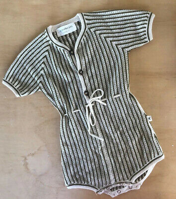 My Brother John Lacey Lane Size 1 Romper Olive and cream