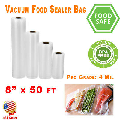 "2 Pack Vacuum Sealer Rolls 8""x50' 4 Mil FoodSaver Style Food Bags Storage Magic"