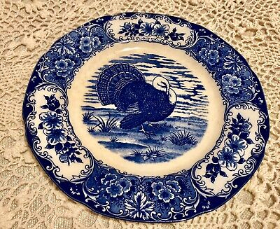 Vintage Japan Turkey Plate Crazing White Blue Maruta Ware Thanksgiving 1 plate