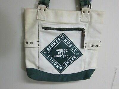 """Barnes & Noble Vintage 100% Cotton Green/White Worlds Best Book Bag Tote 14""""x15"""""""