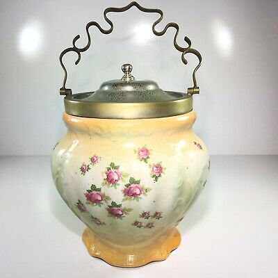 Antique Made in England Biscuit Jar Silver Plated Lid, Decorative Handle Flowers