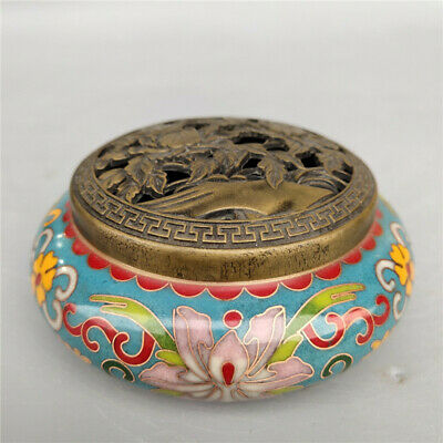 """3.35"""" Exquisite Chinese copper Cloisonne Handmade carving peony Incense burner"""
