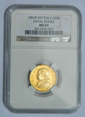 Italy Papal States 1866R XXI Gold 20 Lire NGC MS63