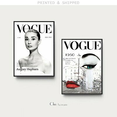 VOGUE Cover Posters - Set of 2 Prints - Fashion Wall Art - 1 FREE Print Included